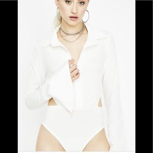 Dolls Kill Lux LA White Collar Bodysuit Button Uo